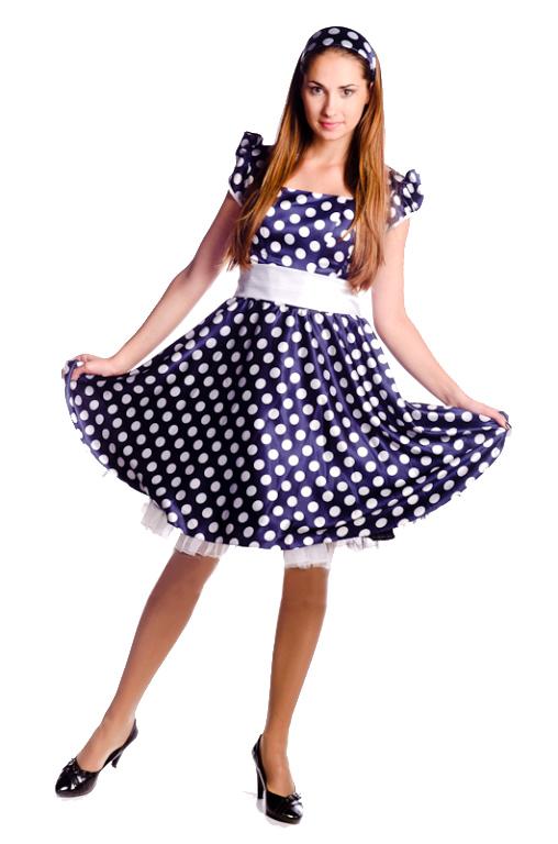 Купить карнавальный костюм для девушки Платье стиляги в горошек ...