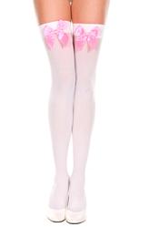 Чулки и колготки - Белые чулки с розовым бантом
