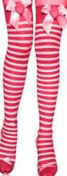 Чулки и колготки - Чулки в красно-белую полоску с бантиками