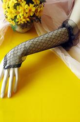 Перчатки и боа - Длинные черные ажурные перчатки