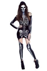 Грим для лица - Скелет девушки