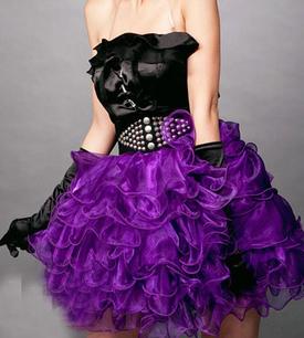 Юбка с воланами фиолетовая